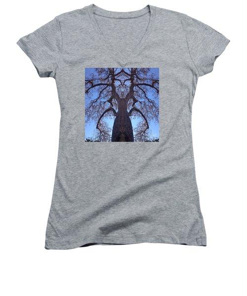 Tree Creature Women's V-Neck T-Shirt (Junior Cut) by Nora Boghossian