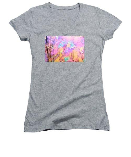 Women's V-Neck T-Shirt (Junior Cut) featuring the photograph Tree Dance by Kathy Bassett