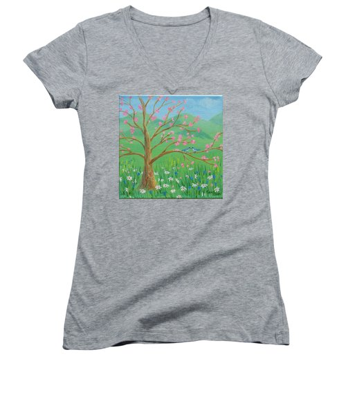 Women's V-Neck featuring the painting Tree For Two by Nancy Nale