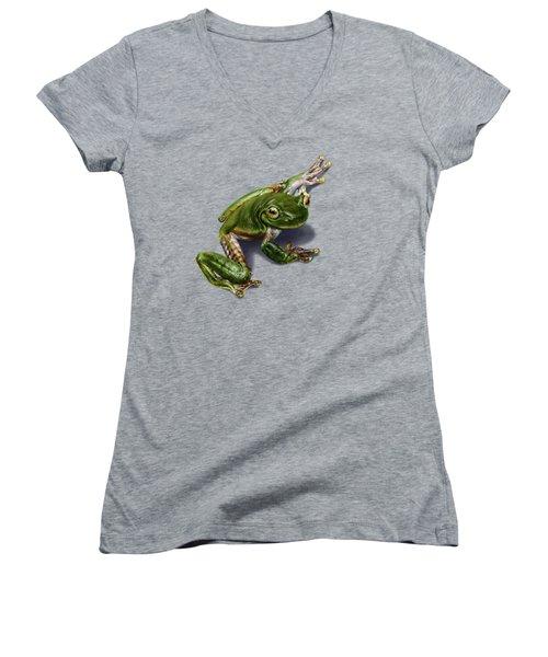 Tree Frog  Women's V-Neck T-Shirt (Junior Cut) by Owen Bell
