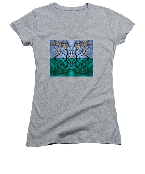Tree Gate Between Water And Sky Worlds Women's V-Neck
