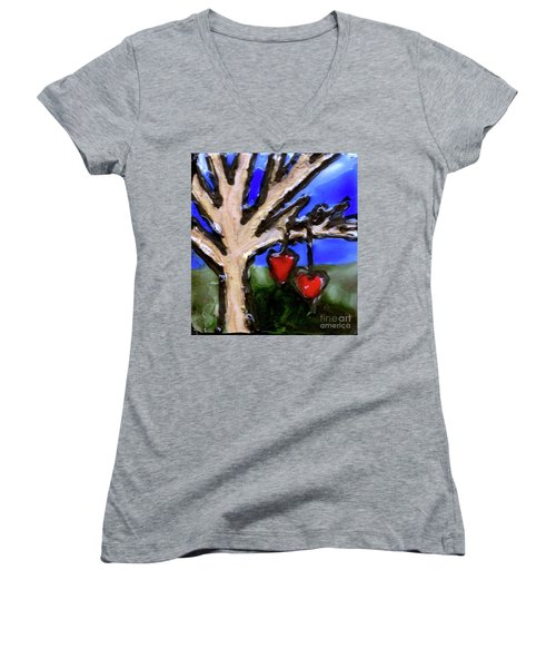 Women's V-Neck T-Shirt (Junior Cut) featuring the painting Tree Hearts by Genevieve Esson