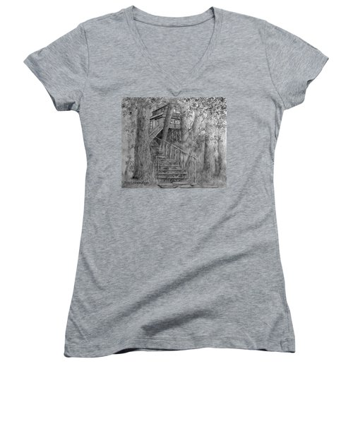 Tree House #1 Women's V-Neck T-Shirt (Junior Cut) by Jim Hubbard