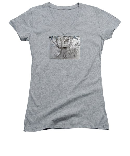 Tree House #2 Women's V-Neck T-Shirt (Junior Cut) by Jim Hubbard