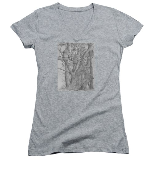 Tree House #3 Women's V-Neck T-Shirt (Junior Cut) by Jim Hubbard