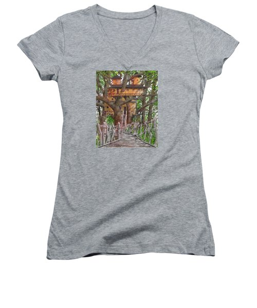 Tree House #6 Women's V-Neck T-Shirt (Junior Cut) by Jim Hubbard