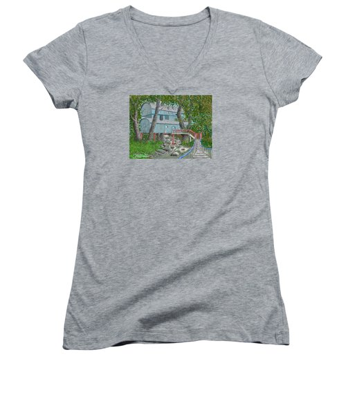 Tree House Digital Version Women's V-Neck T-Shirt (Junior Cut) by Jim Hubbard