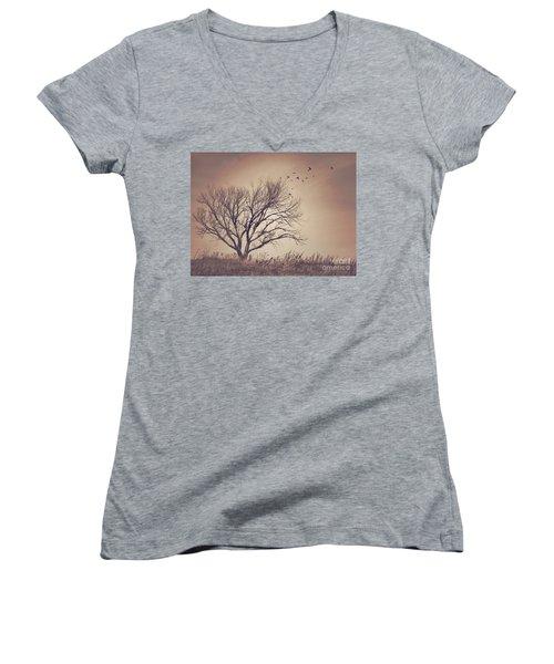 Women's V-Neck T-Shirt (Junior Cut) featuring the photograph Tree by Juli Scalzi