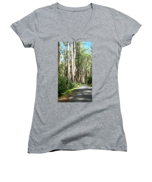 Tree Lined Mountain Road Women's V-Neck