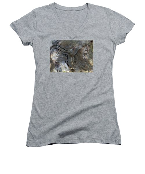 Women's V-Neck T-Shirt (Junior Cut) featuring the photograph Tree Memories # 28 by Ed Hall