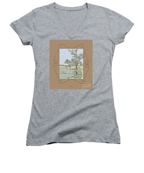 Tree Mirror In Lake Women's V-Neck (Athletic Fit)