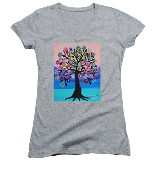 Blooming Tree Of Life Women's V-Neck