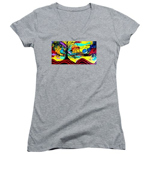 Tree Of Life Abstract Painting  Women's V-Neck (Athletic Fit)