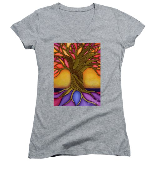 Women's V-Neck featuring the painting Tree Of Life by Carla Bank
