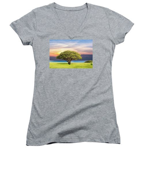 Women's V-Neck featuring the painting Tree Of Life by Harry Warrick