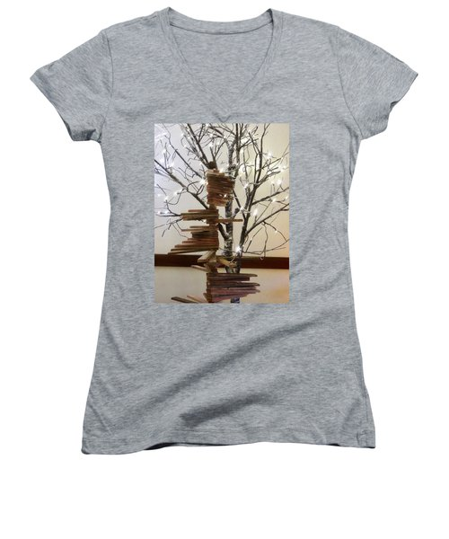 Tree Of Lights Women's V-Neck T-Shirt (Junior Cut) by Robin Regan