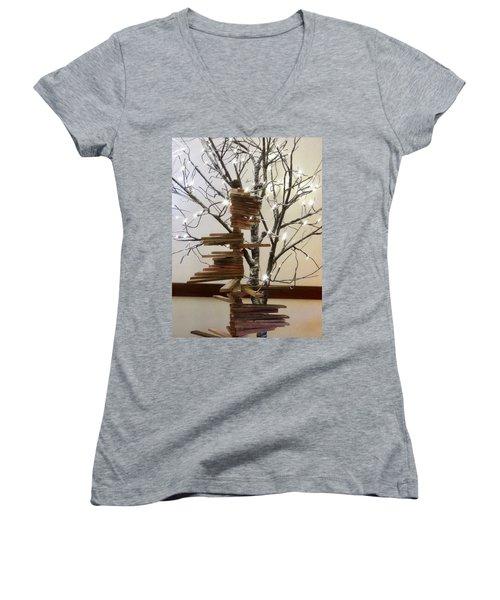 Tree Of Lights Women's V-Neck T-Shirt