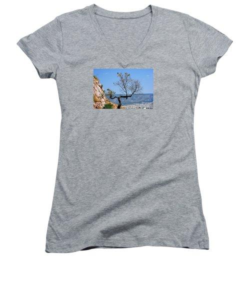 Women's V-Neck T-Shirt (Junior Cut) featuring the photograph Tree On Acropolis Hill by Robert Moss