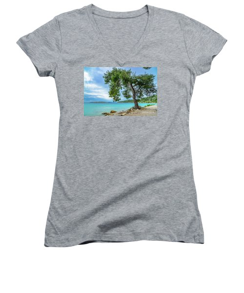 Tree On Northern Dalmatian Coast Beach, Croatia Women's V-Neck
