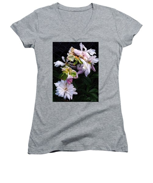 Tree Peony Women's V-Neck T-Shirt (Junior Cut) by Alexis Rotella