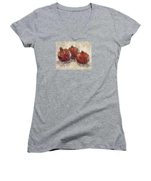 Three Pomegranates Women's V-Neck T-Shirt (Junior Cut)