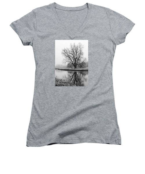 Tree Reflection In The Fox River On A Foggy Day Women's V-Neck T-Shirt