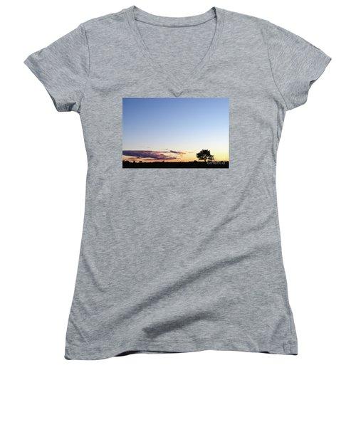 Tree Silhouette By Twilight Women's V-Neck T-Shirt (Junior Cut) by Kennerth and Birgitta Kullman