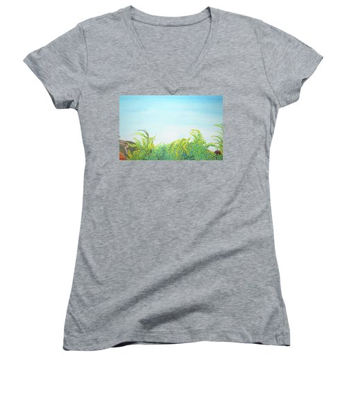 Women's V-Neck T-Shirt (Junior Cut) featuring the painting Tree Tops by Mary Ellen Frazee