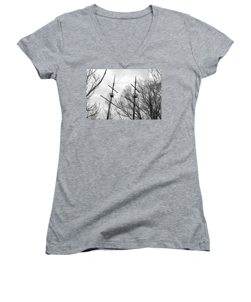 Women's V-Neck T-Shirt (Junior Cut) featuring the photograph Tree Types by Valentino Visentini