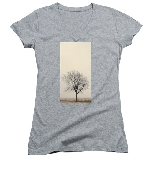 Tree#2 Women's V-Neck T-Shirt (Junior Cut) by Susan Crossman Buscho