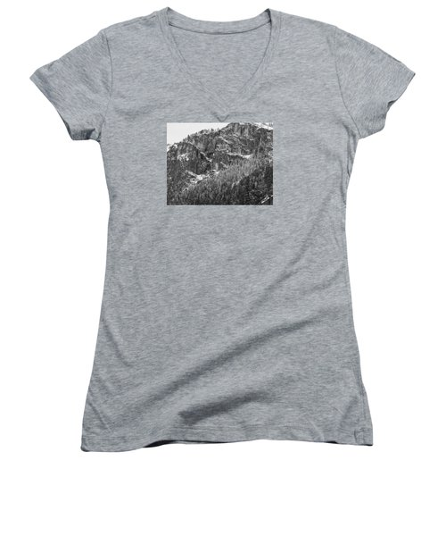 Women's V-Neck T-Shirt (Junior Cut) featuring the photograph Treefall by Lora Lee Chapman