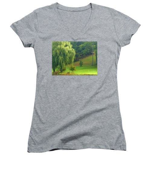 Trees Along Hill Women's V-Neck