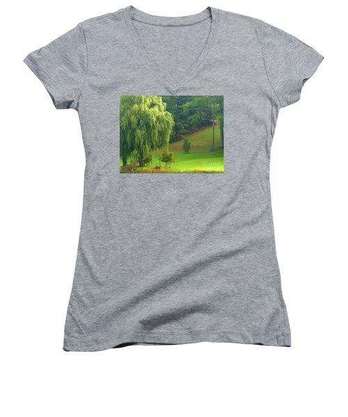 Trees Along Hill Women's V-Neck