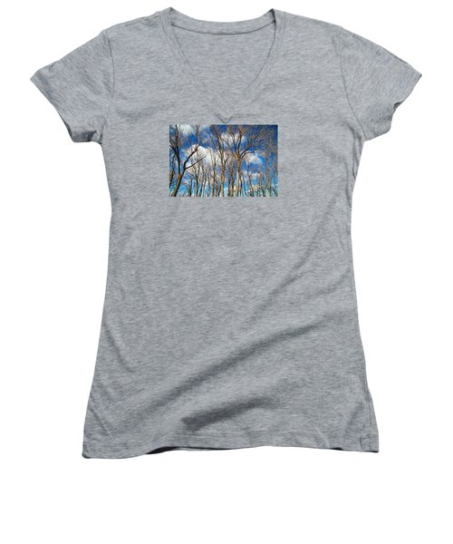 Women's V-Neck T-Shirt (Junior Cut) featuring the photograph Trees And Clouds by Valentino Visentini