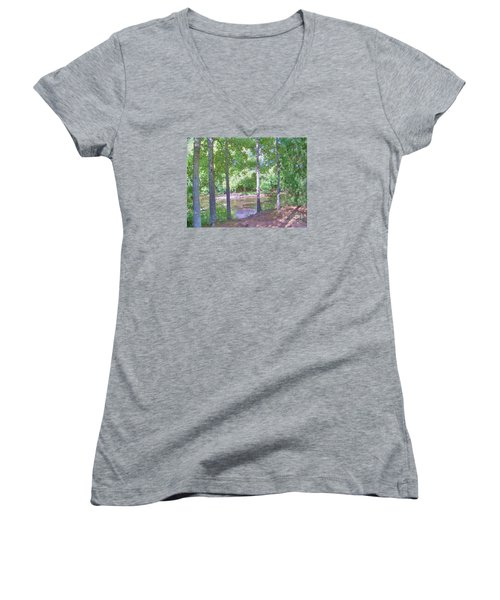 Trees At Rivers Edge Women's V-Neck T-Shirt (Junior Cut) by Shirley Moravec