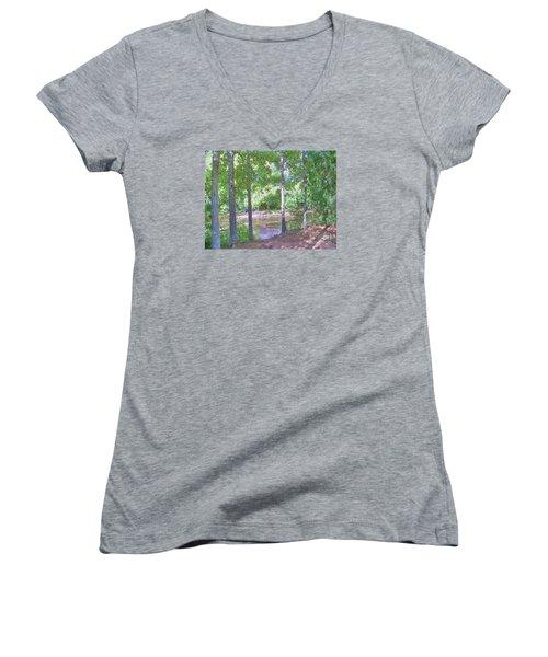 Trees At Rivers Edge Women's V-Neck T-Shirt