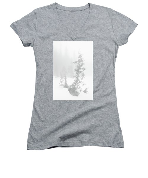 Trees In Fog Monochrome Women's V-Neck