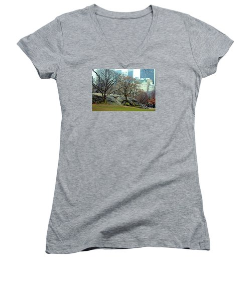 Trees In Rock Women's V-Neck T-Shirt (Junior Cut) by Sandy Moulder