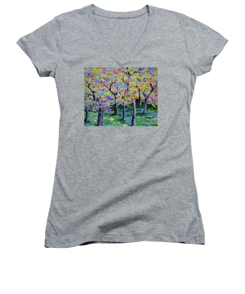 Trees On Hideaway Ct Women's V-Neck T-Shirt (Junior Cut) by Lisa Rose Musselwhite