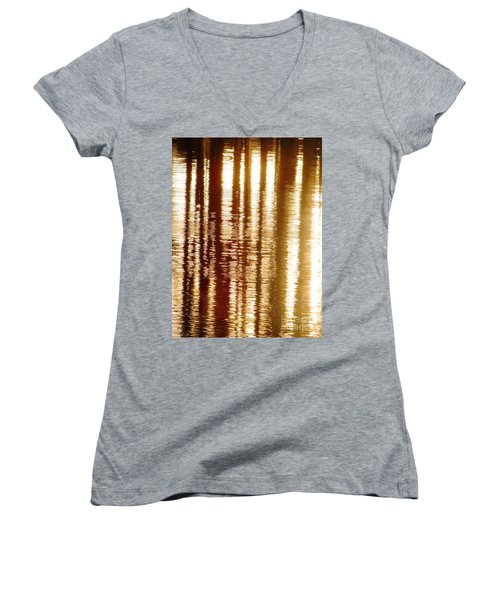 Trees On Rippled Water Women's V-Neck T-Shirt (Junior Cut) by Melissa Stoudt