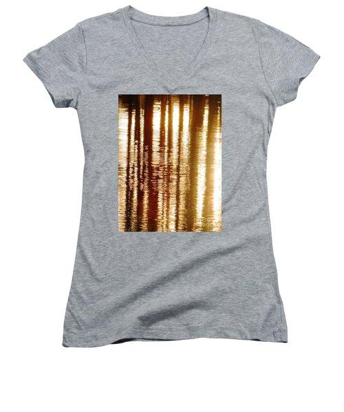 Trees On Rippled Water Women's V-Neck T-Shirt