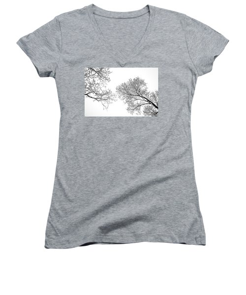 Women's V-Neck T-Shirt (Junior Cut) featuring the photograph Trees Reaching by Marilyn Hunt