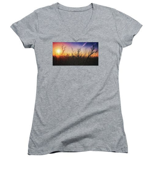 Women's V-Neck T-Shirt (Junior Cut) featuring the photograph Treetop Silhouette - Sunset At Lapham Peak #1 by Jennifer Rondinelli Reilly - Fine Art Photography