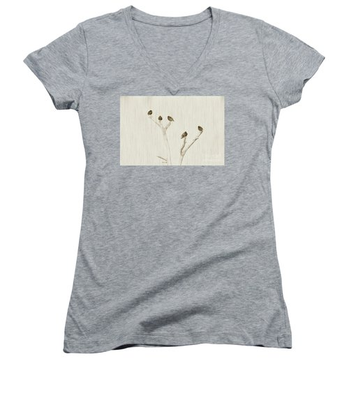 Treetop Starlings Women's V-Neck T-Shirt (Junior Cut) by Benanne Stiens