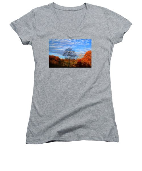 Women's V-Neck T-Shirt (Junior Cut) featuring the photograph Treetops Sunrise by Kathryn Meyer