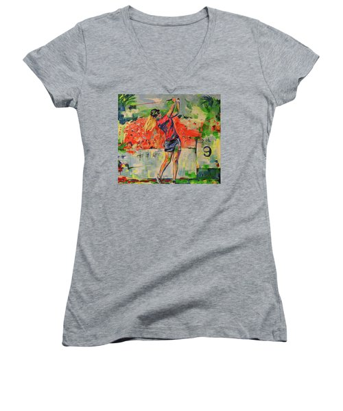 Treibschlag Vom 9 Tee  Drive From The 9th Tee Women's V-Neck T-Shirt