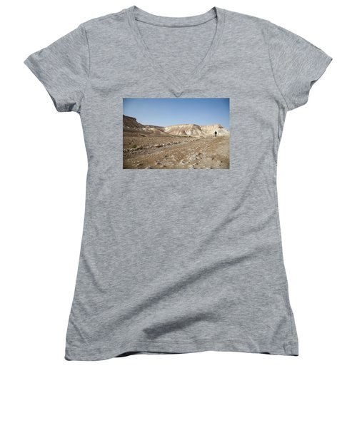 Trekker Alone On The Wild Way Women's V-Neck T-Shirt (Junior Cut) by Yoel Koskas