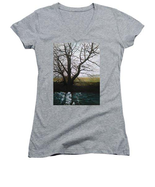 Trent Side Tree. Women's V-Neck T-Shirt