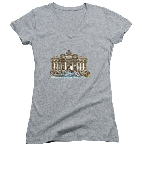 Women's V-Neck T-Shirt (Junior Cut) featuring the painting  Trevi Fountain,rome  by Andrzej Szczerski