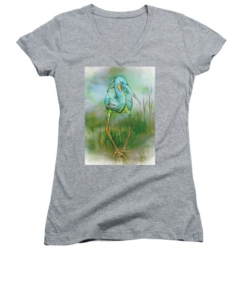 Tri-colored Heron Balancing Act - Colorized Women's V-Neck